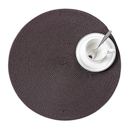 Creative Braided Edge Round Placemats Japanese-style Round Table Mats, Home PP Woven Mat and Anti-hot Insulation Pad 38CM(Coffee)(Set of 4)(CS-CD04) (Dark Brown Dining Set)