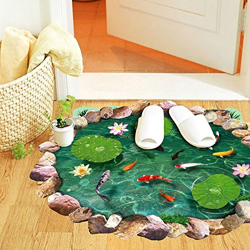 Lotus leaf And Fish Pond 3D Wall Stickers PVC Cartoon Ground Stickers Environmental Protection Waterproof Home (Vans Superhero Shoes)