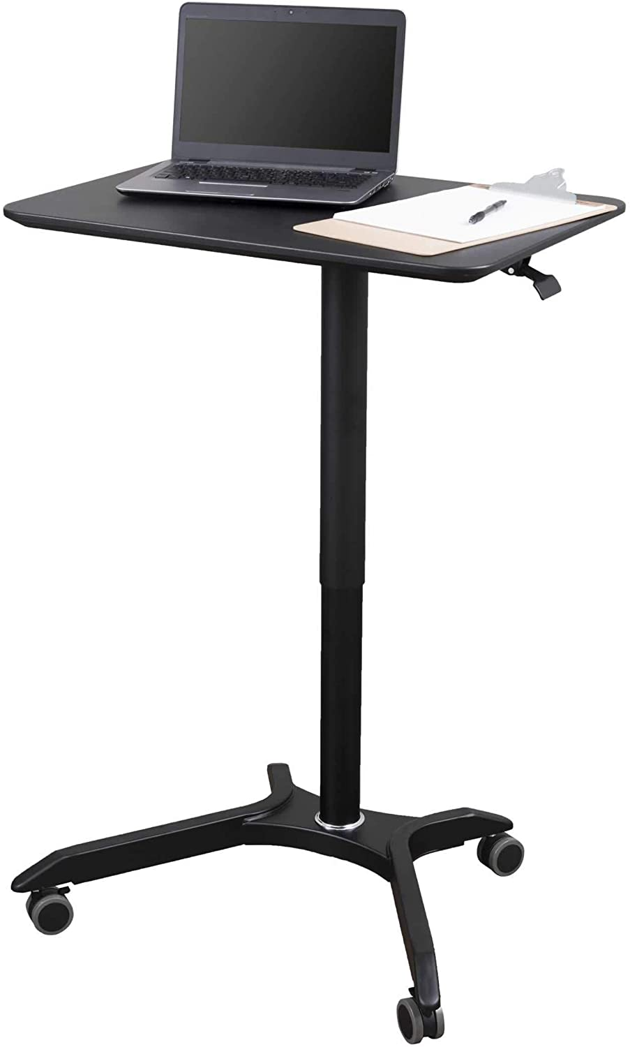CHEUKHAM Advanced Pneumatic Adjustable Height Mobile Laptop Desk Come with Wireless Charging and Home Black Excellent Lectern for Classrooms Sit and Stand Mobile Offices