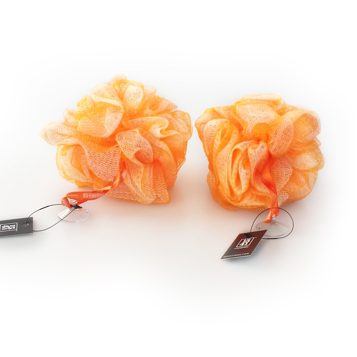 1541 London Exfoliating Bath & Shower Body Puff / Scrunchie / Buffer TWIN PACK (Tangerine Orange)