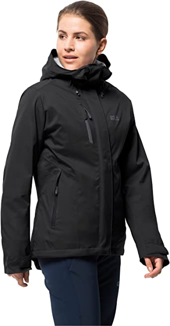 Jack Wolfskin Men's Troposphere Waterproof Hybrid Down Fiber Insulated Jacket, Ebony, Large