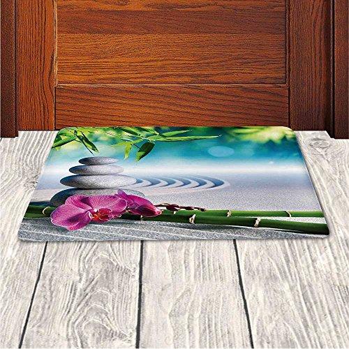 Memory Foam Bath Mat,Spa Decor,Sand Orchid and Massage Stones in Zen Garden Sunny Day MeditationPlush Wanderlust Bathroom Decor Mat Rug Carpet with Anti-Slip Backing, by iPrint (Image #3)