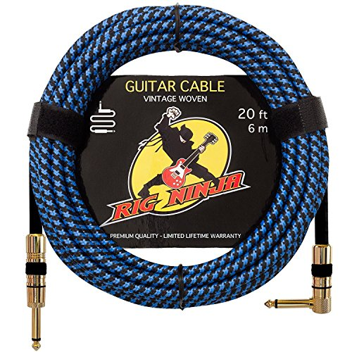 RIG NINJA 1/4 GUITAR CABLE for the Serious Musician, Quality Electric Guitar Cord for a Clean Tone to the Amp, Solid & Durable Instrument Cables that Look Great, Low Noise Cords for Guitars & Bass by Rig Ninja