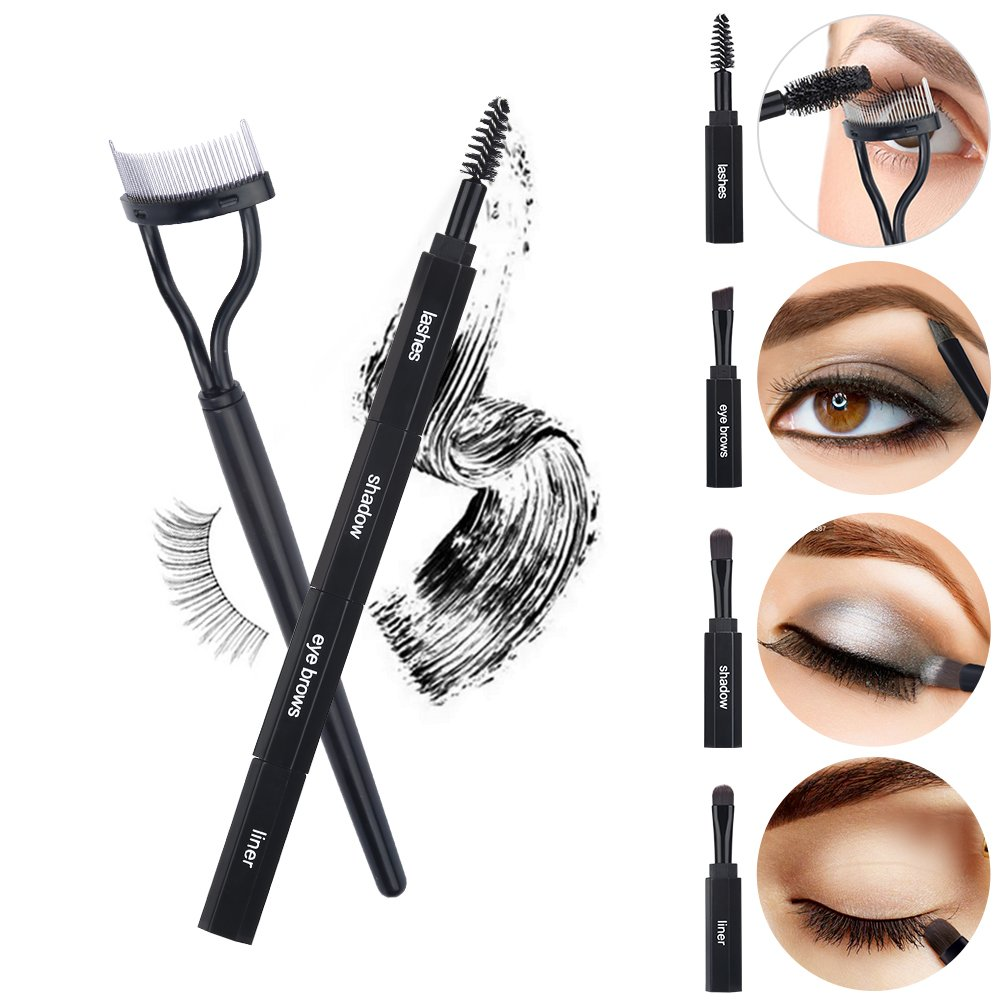 Miss Gorgeous 4 IN 1 Multifunction Combination Eye Makeup Brushes, Portable Eyelashes Eyeliner Shadow Eyebrows Brush Set With Eyelash Comb Curler Tool, Saving your Money (Black) St Future