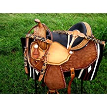 "15"" Horse Western Barrel Show Pleasure LEATHER SADDLE Bridle 50123"