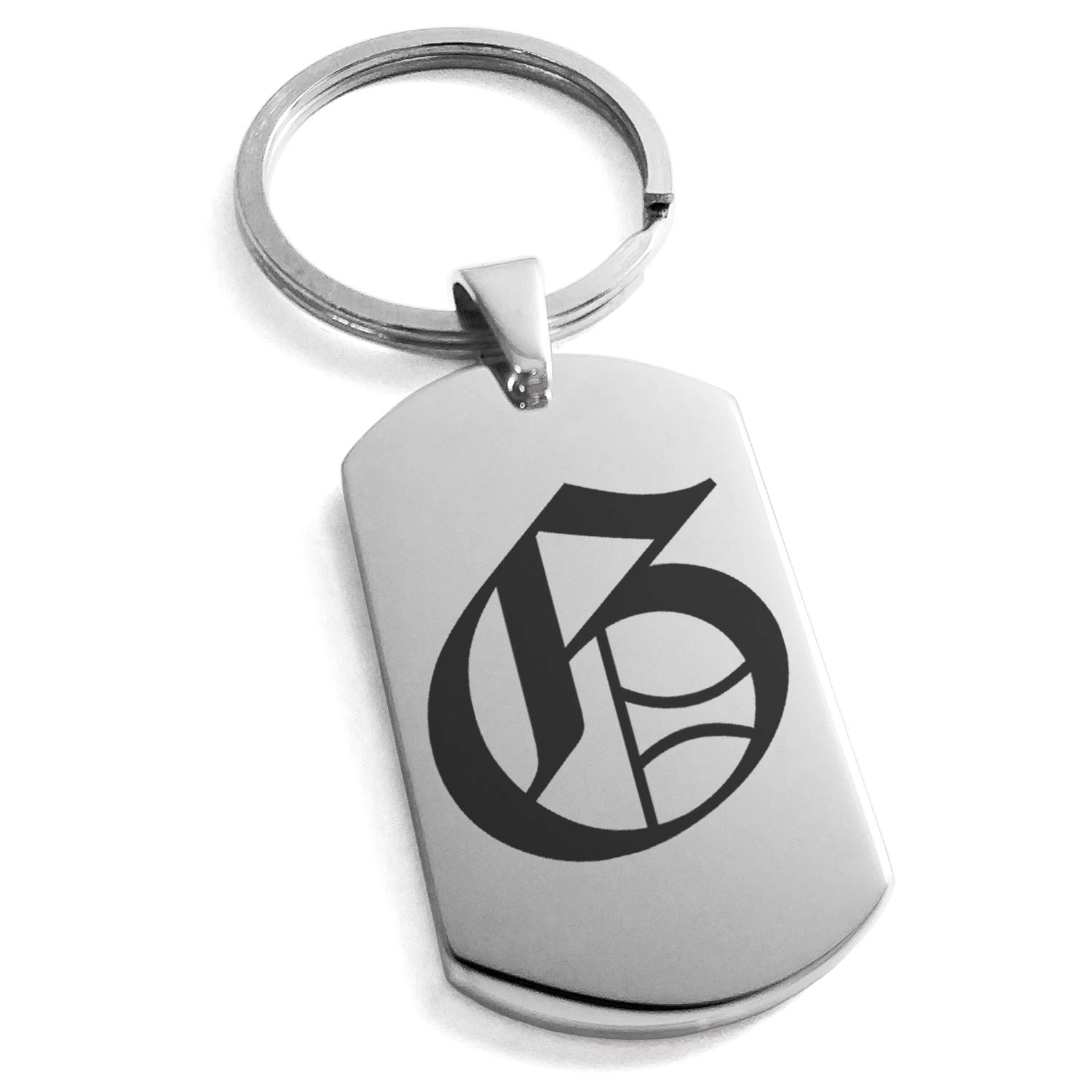 Tioneer Stainless Steel Letter G Initial Old English Monogram Engraved Dog Tag Keychain Keyring