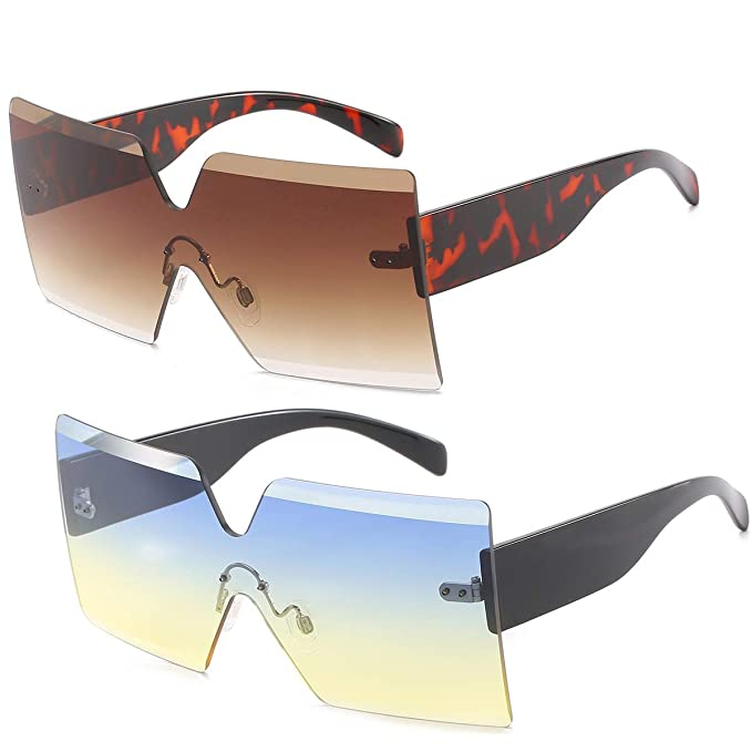 a7f310eda4a Oversized Square Sunglasses for Women Rimless Frame Candy Color Transparent  Glasses(2 pack-blue