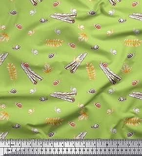 Soimoi Verde Raion Tessuto Foglie, Cannella e Lumaca Insetto Tessuto Stampato da Metro 42 Pollici Larghi