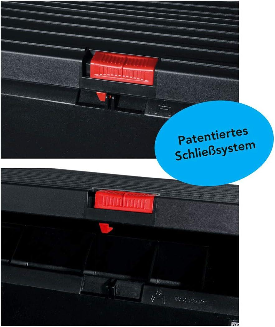 Tragf/ähigkeit 150kg smarty f/ür Innen und Au/ßen H/öhe 30cm 2in1 Tritthocker mit Werkzeugbox Material: PP