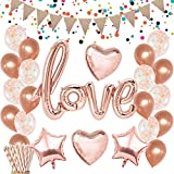 Rose Gold Love Balloons Decorations - Confetti Balloons Glitter Pennant Banner Heart Foil Balloons for Mothers Day Wedding Bridal Shower Engagement Party Decorations