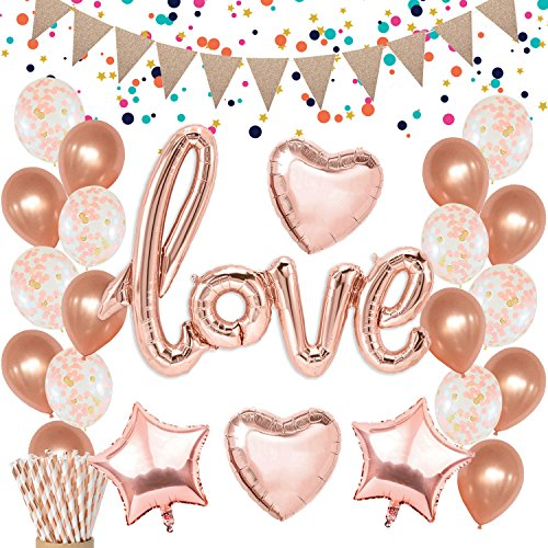 KREATWOW Rose Gold Love Balloons Decorations - Confetti Balloons Glitter Pennant Banner Heart Foil Balloons for Mothers Day Wedding Bridal Shower Engagement Party Decorations