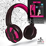 Rebelite Blu Audio Bluetooth Wirless Headphones w/ Powerful Sound & Conference Call Hands-Free Microphone for iPhone, iPod, iPad, Samsung Galaxy, & other smart phones and mp3 players (Peppy Pink) For Sale