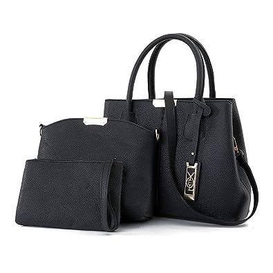 d94e4316a5 Amazon.com  Designer Handbags Set for Women Top Handle Satchel Bags Leather Purse  3 Piece (1-Black)  Shoes