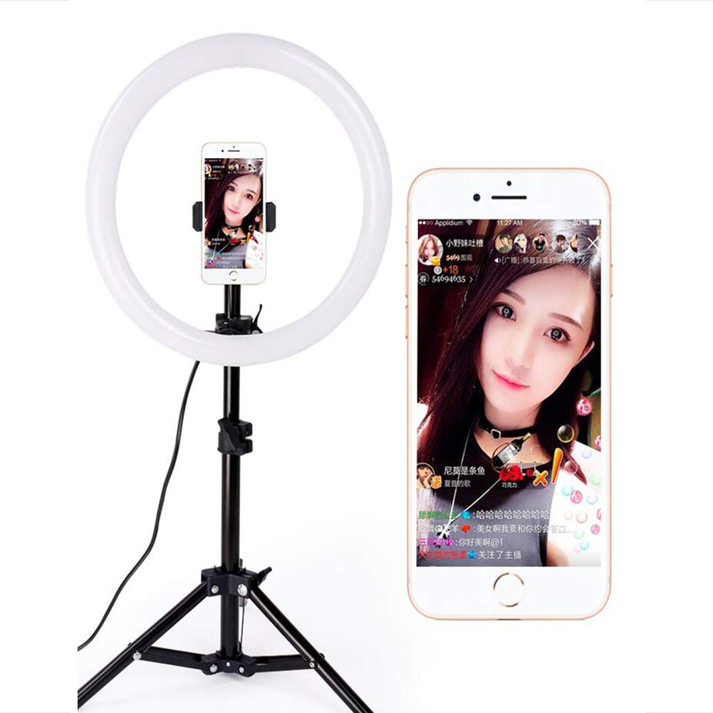 GWJ-14 LED Video Ring Light Mirror, Stand Tripod, Adjustable Heavy Duty Mount DSLR, iPhone & Android Smartphones - Professional Studio Photography Dimmable Lighting Kit Makeup & YouTube