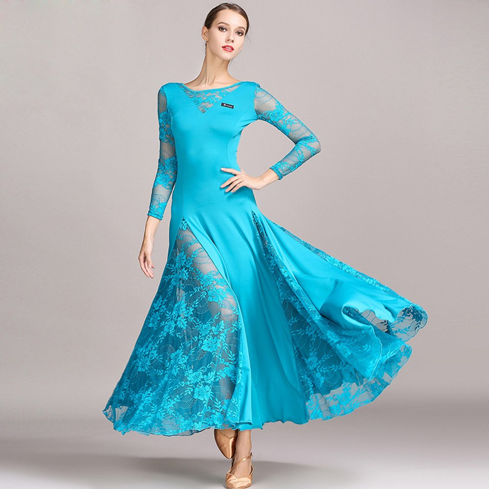 レディーモダンダンスドレスビッグ振り子スカート全国基準ダンスドレスダンスコンペティションパフォーマンスドレスラインストーンダンスコスチュームタンゴワルツスカート B07HHXGKK4 Large|Blue Blue Large