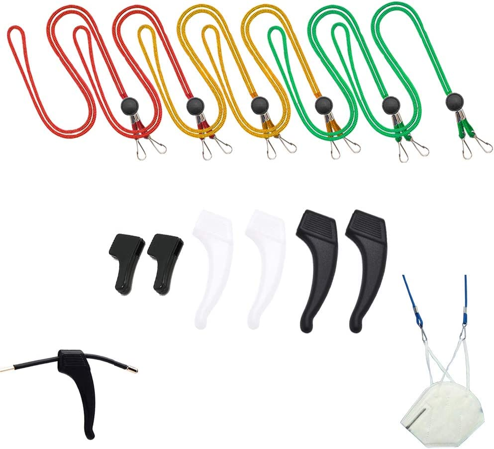 Teenagers A Good Helper For Ears And Glasses TLMALL Adjustable Lanyard And Ear Hooks,Wide Use Perfect For Men Black+Blue+Light red And Children Of All Ages Packs Of 12 Women