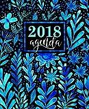 Agenda: 2018 Agenda settimanale italiano : 19x23cm : Bellissimi fiori blu ad acquerello: Volume 4
