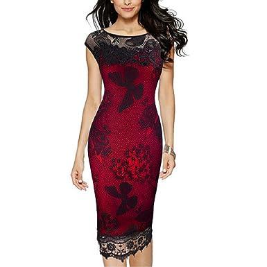 U8Vision Damen Elegant Rose Rundhals Spitze Stitching Kleid Business ...