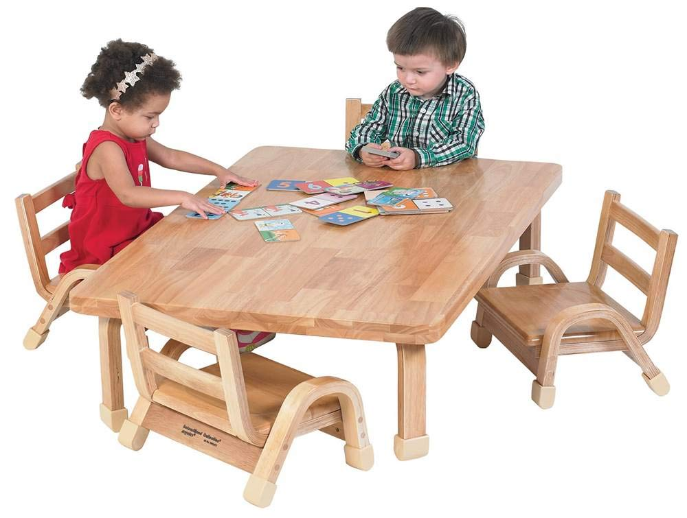 Angeles Furniture Natural Wood Collection 30 x 48 x 12'' Rectangle Toddler Table and Chair Set by Angeles