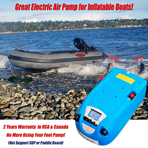SEAMAX 12V Electric Air Pump for Inflatable Boat, Max 10 PSI with Digital Air Gauge