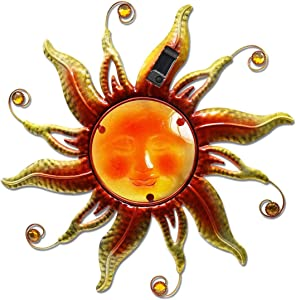 LIMEIDE Solar Wall Decor Sun God Garden Hanging Decoration/Wall Mount Metal Sun Wall Art Sculpture with Glass Face and LED Lights for Patio Bedroom Living Room Office Courtyard Decor(Copper) 18 Inch