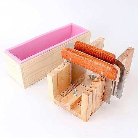 biowow madera pan Cortador de jabón + silicona Rectangular jabón mold recta de acero con caja