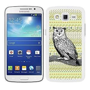 Funda carcasa para Samsung Galaxy Grand 2 diseño ilustración búho estampado azteca verde amarillo borde blanco