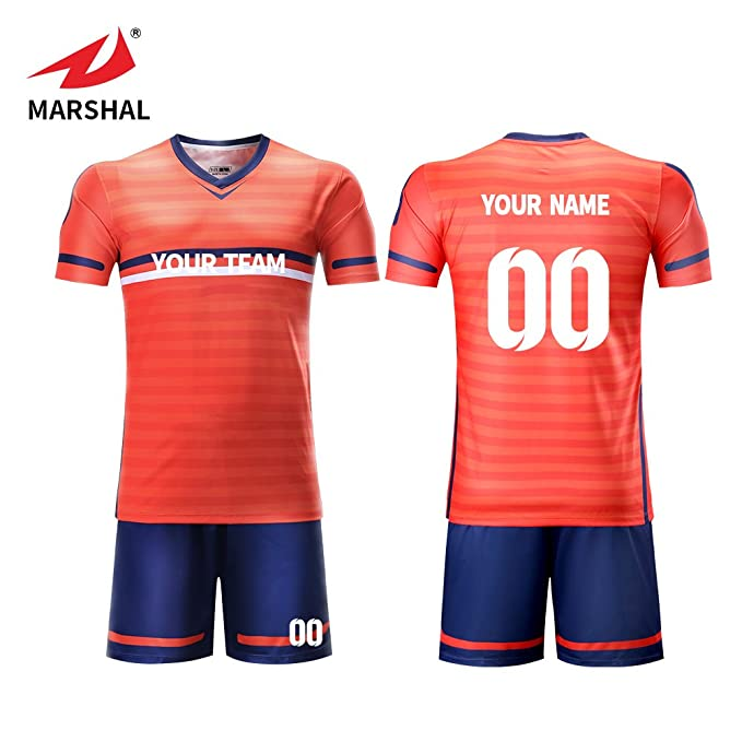 4f45ebec6 Marshal jersey orange striped youth football jersey Custom Soccer jersey  full sublimation print personalize soccer tracksuit