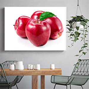 KONGQTE Red Apple Decoration Home Painting Wall Pictures for Living Room Kitchen Decor Food Poster Prints Art Print on Canvas -60x80CM no Frame