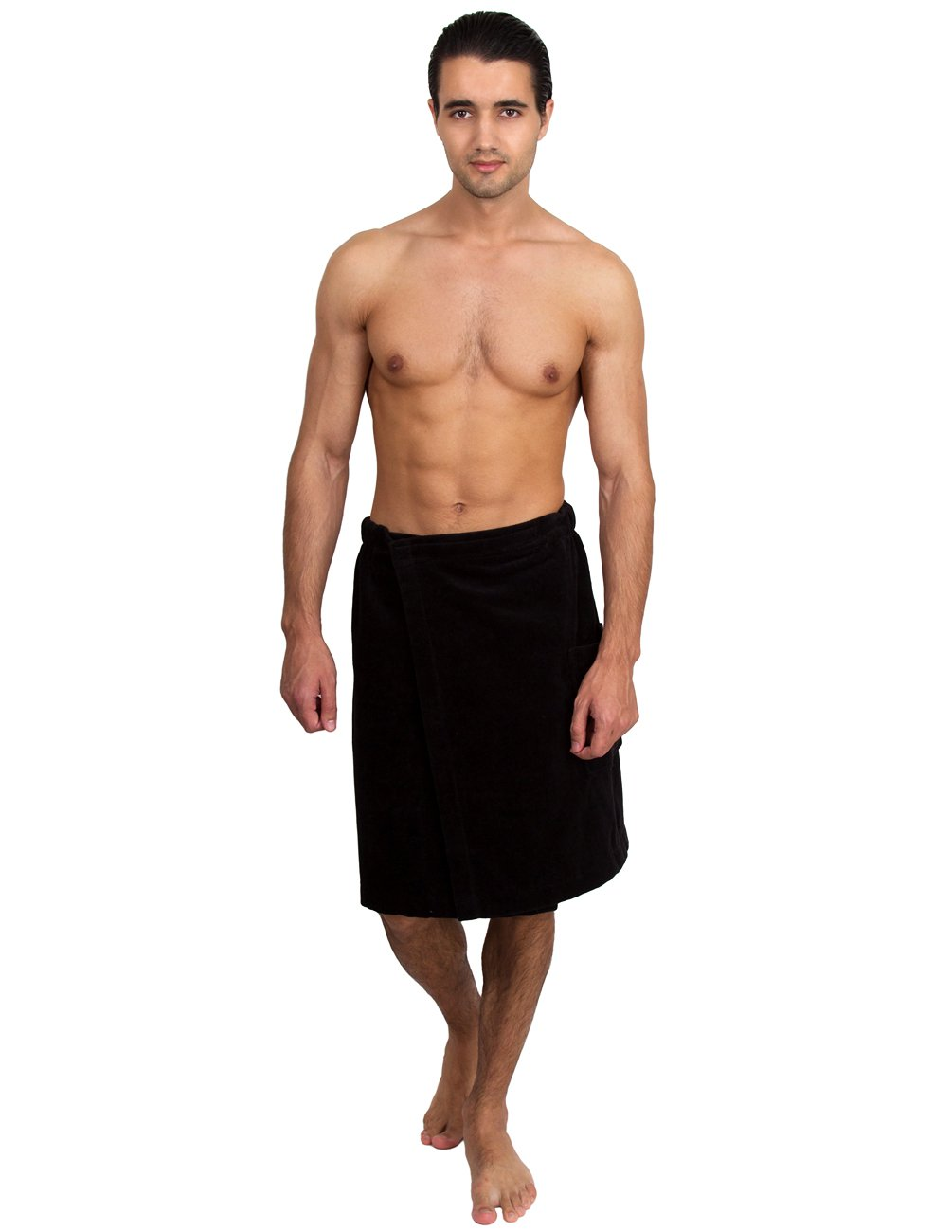 TowelSelections Men's Wrap, Shower & Bath, Terry Velour Towel Small/Medium Black
