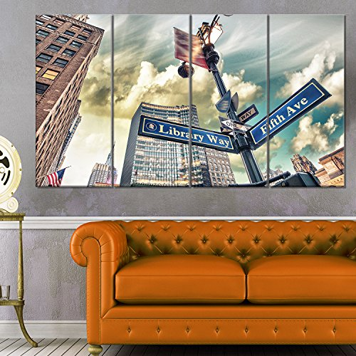 Library Way & 5th Avenue Street Signs - Modern Cityscape