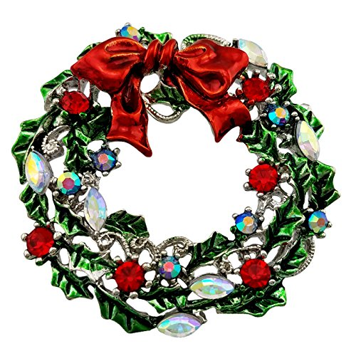 SELOVO Silver Tone Wreath Green Red Austrian Crystal Round Brooch Pin