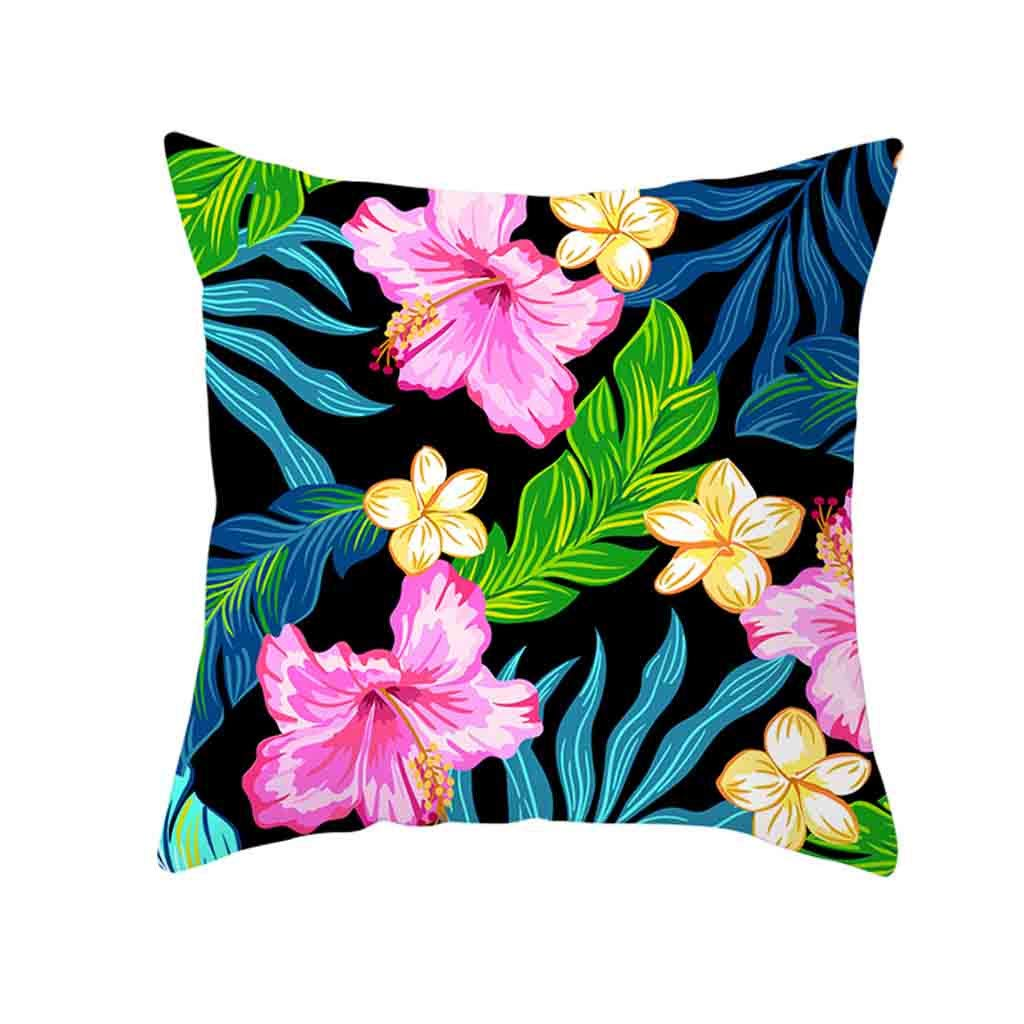 A Cushion Cover Flower Leaf Print Polyester Throw Waist Pillow Case Square Bedroom Sofa Home Decor with Invisible Zipper 45x45cm