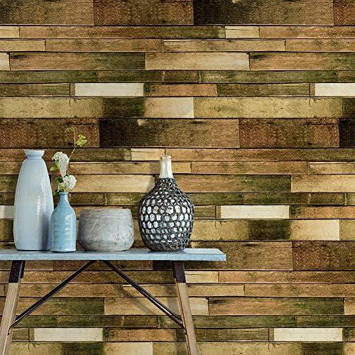 HAOKHOME 18083 木目 壁紙 はがせる壁紙シール 自己粘着ステッ のり付き 剥がせる 簡単 キッチン リビングルームの装飾 45mx3m