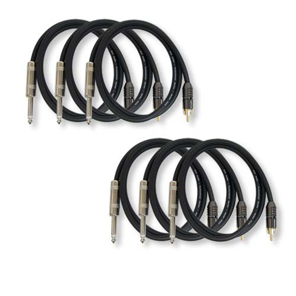 GLS Audio 3ft Patch Cable Cords - RCA To 1/4 Black Cables - 3' Pro Series Cord - 6 PACK