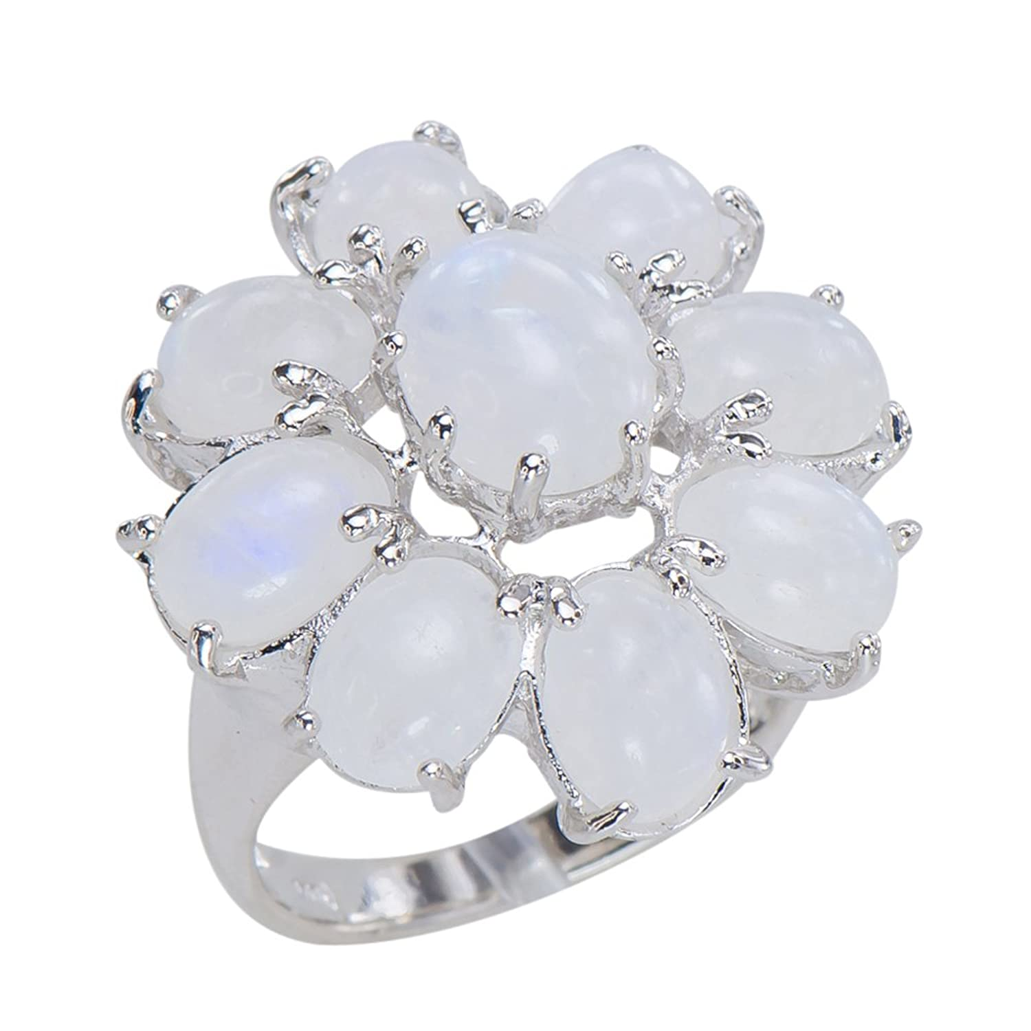 Gorgeous Women's Moonstone Floret Flower 925 Sterling Silver Statement Ring