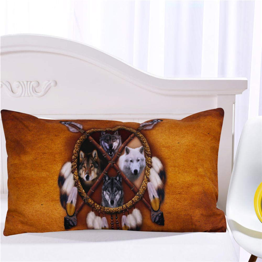 ZMK-720 Conjunto De Ropa De Cama De Lobos Indio Americano Nativo Lobo Funda N/órdica Occidental Salvaje Animal Tribal 3D Cubierta De Cama 3Pcs @ 173 218 Cm