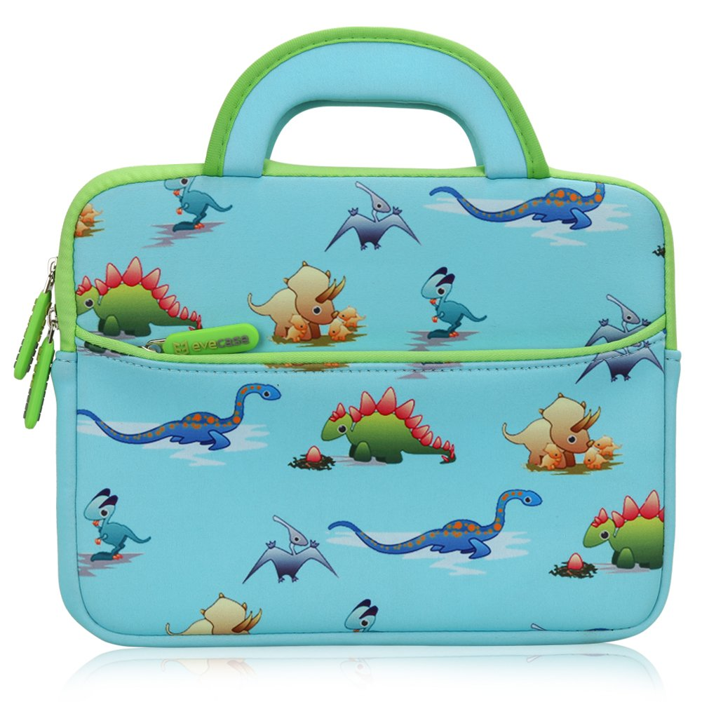 Evecase 8.9-10.1 inch Kid Tablet Sleeve, Cute Dinosaurs Themed Neoprene Carrying Sleeve Case Bag for 8.9-10.1 inch Kid Tablets (Blue & Green Trim, with Dual Handle and Accessory Pocket) by Evecase