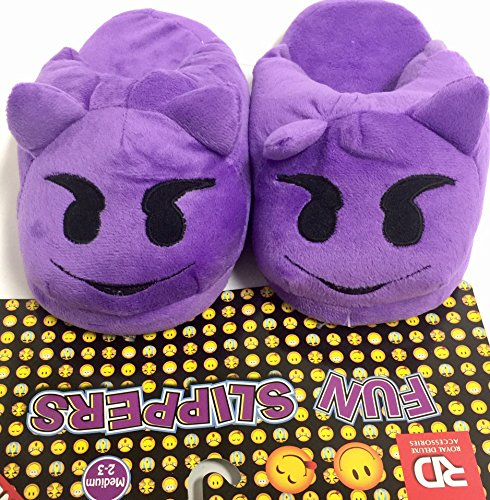 Cute Emoji Kid Plush Indoor Slippers - Purple Devil Cute Slipper (Size: ( Medium 2-3 ))