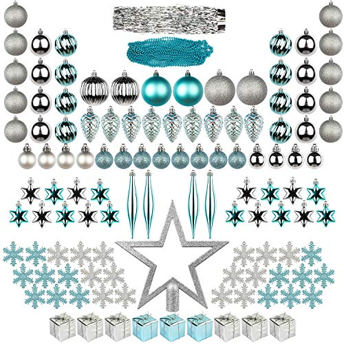 ITART 122ct Christmas Tree Ornaments Decorations Assortment Including Tree Topper Balls Snowflakes Stars Pine Cones Miniature Gift Boxes Tinsel and Beads Garlands Finial (Silver and Blue)
