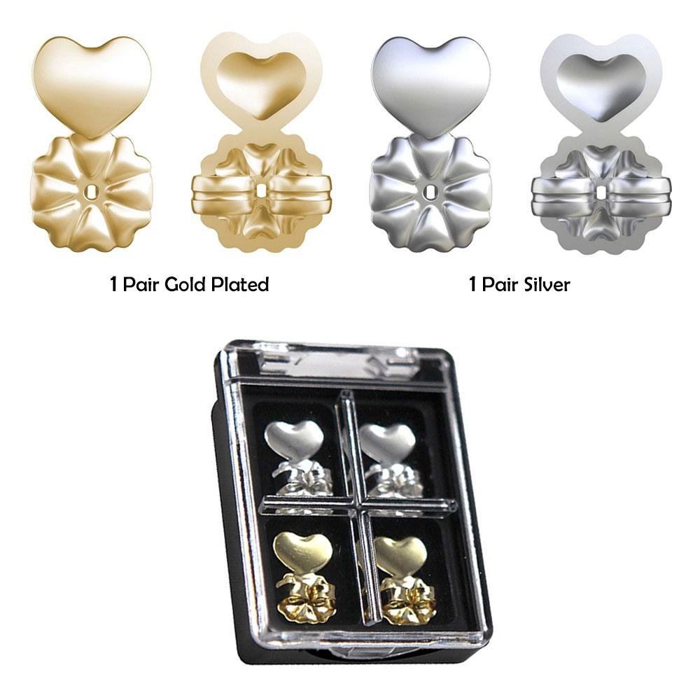 Magic Bax Earring Lifters, 2 Pairs of Adjustable Hypoallergenic Earring Lifts Fits All Post Earrings leegoal