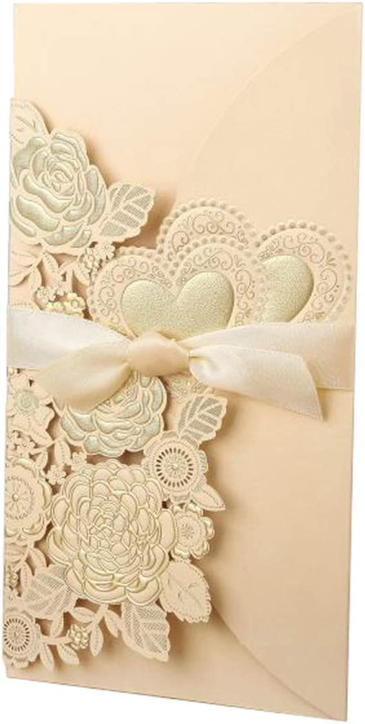 50Pcs Laser Cut Wedding Invitations Card Rose Love Heart Greeting Cards Customize Envelopes With Ribbon Wedding Party Supplies,One Set Gold,113X215 Mm