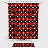 iPrint Poker Tournament Decorations Shower Curtain And Floor Mat Combination Set Card Suit Chess Board Classic Checkered Pattern Symbols Decorative For decoration and daily use Red Black White