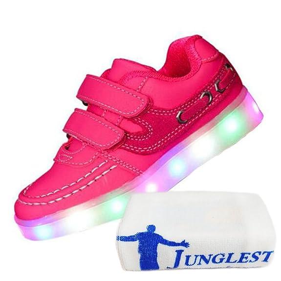 JUNGLEST [Present:Kleines Handtuch] Pink EU 27, Kinder, Jungen, USB-Lade Leuchten Blinken Farben LED Weise Schuhe Trainer Führte 7 Turnschuh