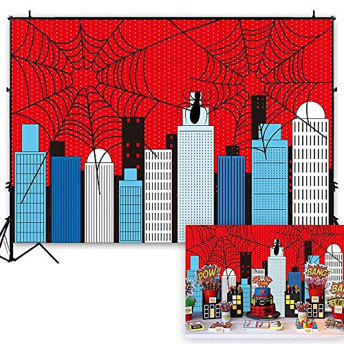 Funnytree 7x5ft Superhero Theme Party Backdrop Cartoon City Spider Web Boy Baby Shower Birthday Photography Background Super Hero Cityscape Buildings Banner Cake Table Decoration Photo Booth Props ()