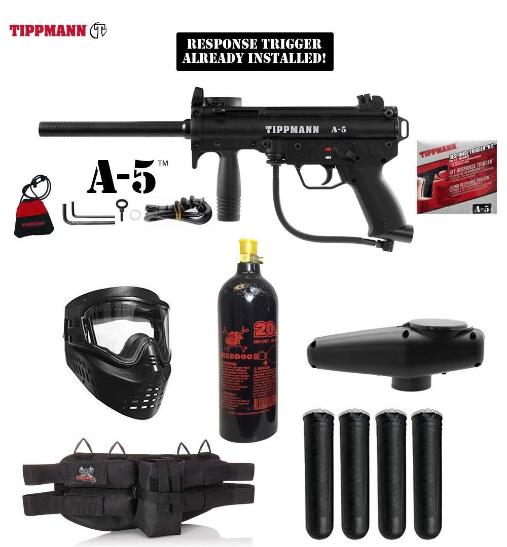MAddog Tippmann A5 A-5 w/Response Trigger Silver Paintball Gun Package - Black by MAddog