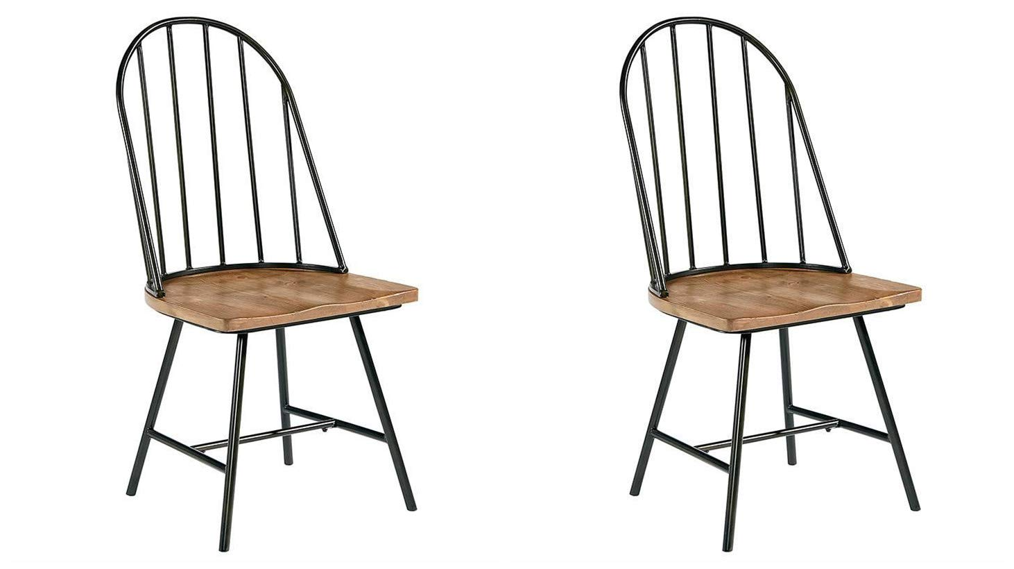 GTU Furniture Set of 2 Mixed Media Spindle Back Dining Chairs with Saddle Seat, Set of 2, Black/Brown