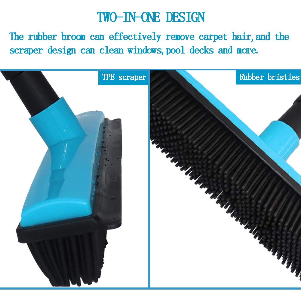 Rubber Broom Push Broom Carpet Broom blue Multi-Surface and Pet Hair Removal with Squeegee and Adjustable Long Handle
