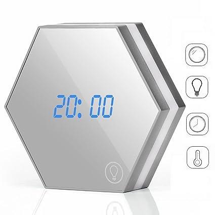 Funwill - Reloj despertador con espejo retrovisor con pantalla digital LED inteligente con espejo cosmético,