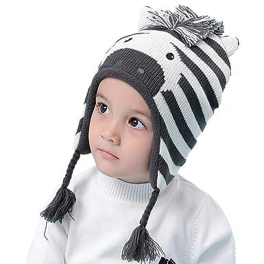 f3620866aae6 Zoylink Bonnet bébé Cartoon chaud tressé Bonnet tricoté Bébé Bonnet Earflap pour  l hiver